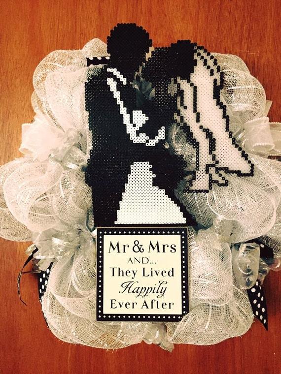Wedding wreath, Wedding decor, Wreath, Door wreath, Perler beads, Wreaths, Front Door wreath, Home decor, Bride Groom, Happily ever after