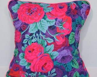 Cushion cover - pink, blue & purple flowers