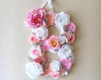 Nursery Wall Letters, Flower girl gift, Baby pink, Nursery decor, Nursery hanging letter / Baby shower gift, Photography Prop