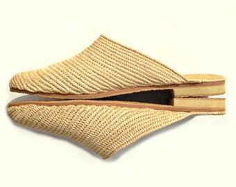 Raffia Mules. Slip-on Shoes. Beige Women's Mules. Women Flats. Handmade Raffia Shoes. Beige Raffia mules. Mules Raphia. Raffia Clogs.