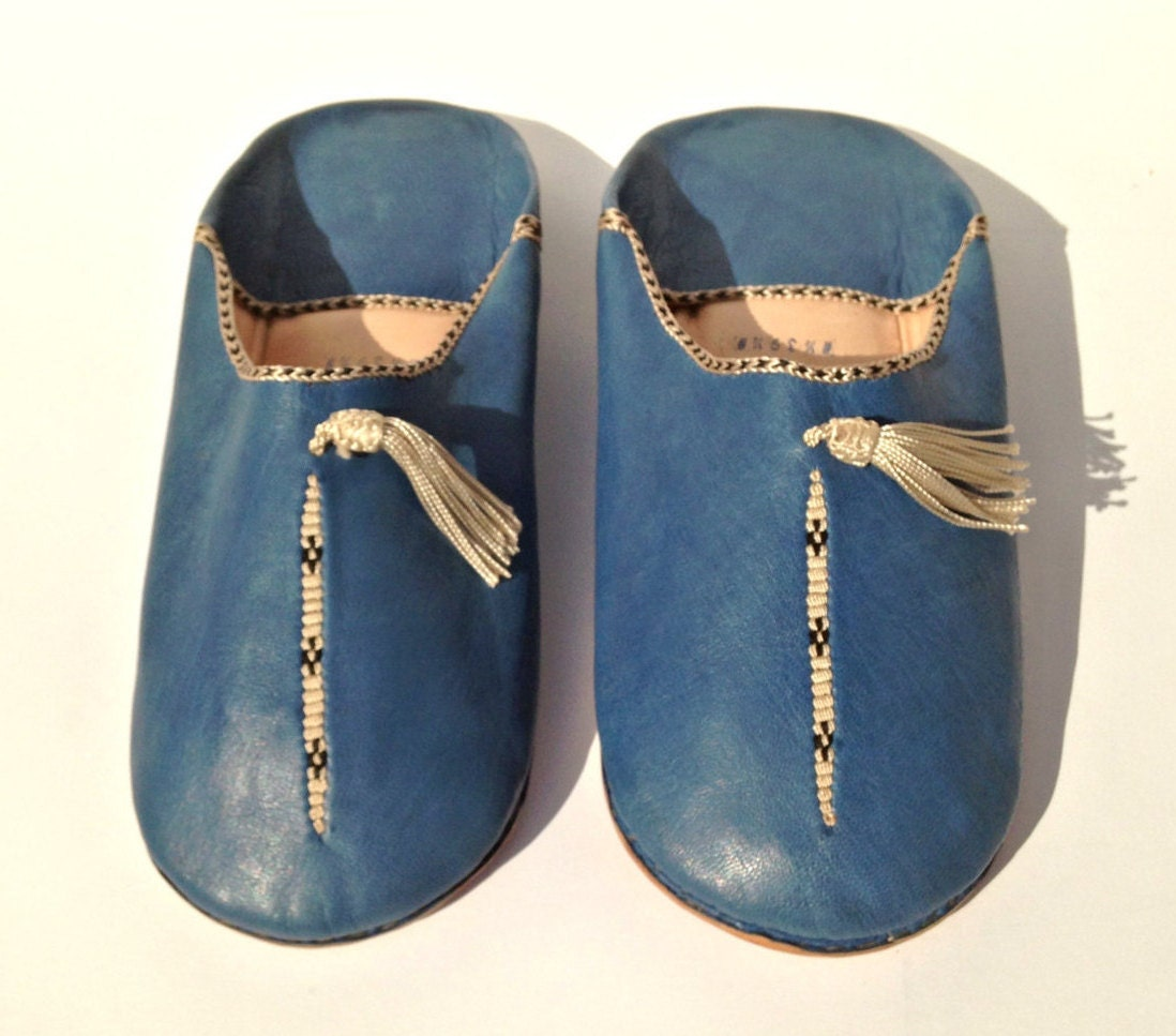 moroccan leather slippers leather blue babouches handmade