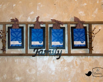Primitive Ladder Family Picture Frames Star Homespun Authentic Tobacco Sticks Pip Berries Wall Hanging Decor Country Rustic 3 foot