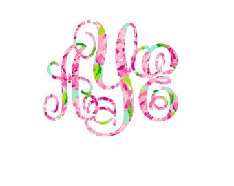 Pattern Monogram Decal  , Lilly Inspired Decal Monogram , One Inch Decal , Lilly car decal, Lilly Yeti decal Custom Decal