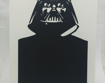 """Darth Vader Star Wars Inspired Cut Paper Silhouette Portrait 8"""" x 10"""" Cut Out Art Portraits"""