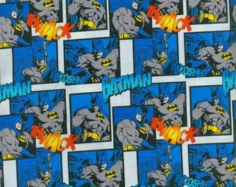Batman Fabric, Yardage, by the yard or Fat Quarter, FQ, Bat Symbol Fabric, Batman Fabric, Comic Book Fabric, Thwack, Fwooshh!