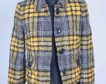 Womens Size 10 Checked Woollen Jacket Retro Vintage  Betty Barclay
