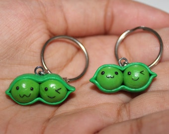 Best Friends Peas in a Pod keychains - Polymer Clay