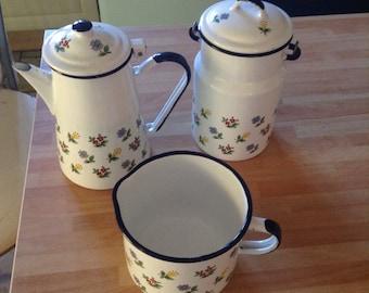 Kitchenware tea coffee pot milk pail and jug set Enamel French shabbychic,french vintage
