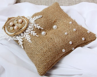 Wedding Ring Pillow, Ring Bearer, Rustic Wedding, Burlap Ring Pillow, Ring Pillow