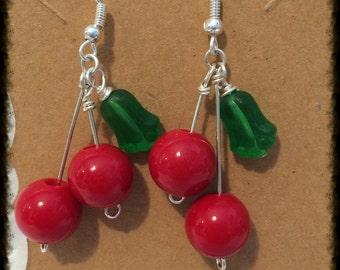 Cherry dangle beaded Pinup earrings