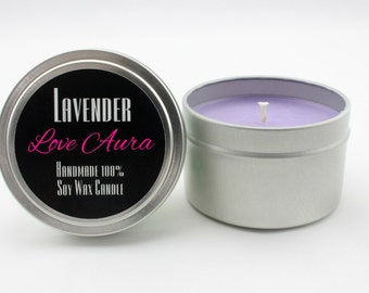 Purple Candle//Lavender Candle//Love Aura Candles//4 oz Soy Candle// 4 oz Soy Candle Tin// Natural Soy Candle//Highly Scented Candle