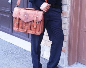 Leather Messenger Bag Men Vintage Leather Bag Unisex Brown Leather Satchel Leather Laptop Bag for Women Briefcase 15 inch