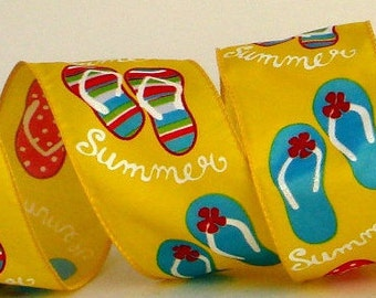 2.5 inch Wired Bright Yellow Flip Flop Ribbon ~ Summer Sandals ~ Ribbon for Summer Wreaths & Crafts ~ Summer Fun ~ 3 Yards