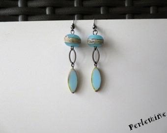 Blue cosmic earrings, clips possible.
