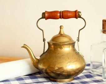 SALE  - 20 % OFF - Vintage / Antique Brass Teapot / Kettle with Wooden Handle
