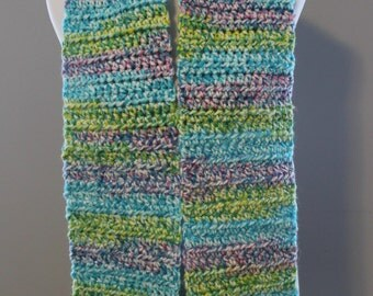 2 Pocket Chunky Scarf, Crochet Scarf, Multicolor Scarf, Long Scarf