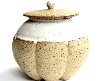 Ceramic jar - small clay jar for kitchen or home decor
