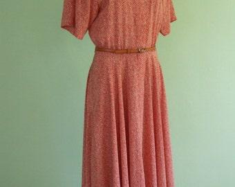 90s dress / Liz Claiborne / size M / graphic print / vintage / long dress / shirt dress