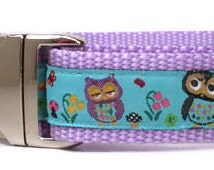 dog collar - garden owls lavender dog collar - purple owl female dog collar - cute girl heavy duty large breed dog collar with metal buckle