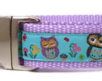 dog collar - garden owls lavender dog collar - purple owl female dog collar - cute girl heavy duty large breed dog collar with metal buckle