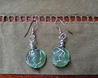Sea glass earrings with a beachy vibe