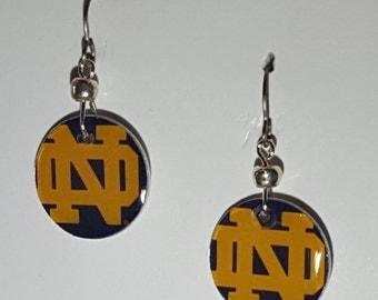 Notre Dame Fighting Irish earrings, Notre Dame Fighting Irish jewelry, Notre Dame fighting Irish, school spirit jewelry