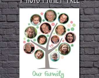 Digital File - Photo Family Tree - personalised photo family tree wall art