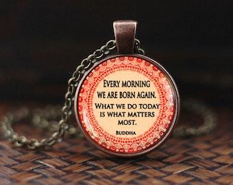 Buddha Quote Necklace, Inspirational Motivational Wisdom Pendant, Yoga Jewelry, Inspirational Quote Jewelry, Spiritual Buddhist Quote gift