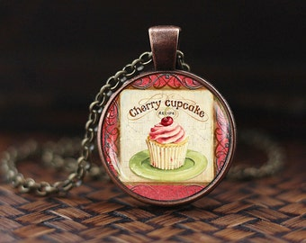 Vintage Cupcake Necklace, Cupcake Pendant, Cupcake Jewelry, Cupcake Lover, Cherry Necklace