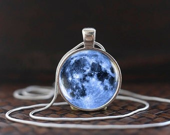 Blue Moon Necklace, Full Moon Necklace, Moon Pendant Galaxy Space Blue Necklace, Moon jewelry, ms23