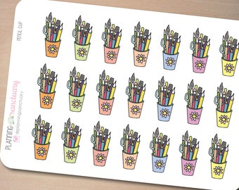 Pencil Cups Planner Stickers Perfect for Erin Condren, Kikki K, Filofax and all other Planners