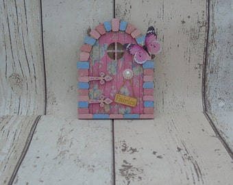 Fairy Door Pink and Blue Flowers