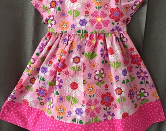 Girls size 12 mo. pink floral sundress.