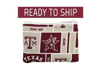 Texas A&M Coin Bag // Change Purse // Pouch // Ready To Ship