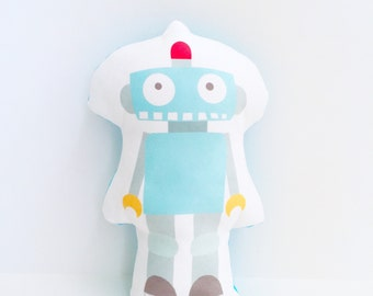 Robot Pillow, Nursery Pillow, Robot, Christmas Gift, Gift for Boy, Boy Gift, Baby Boy Gift, Boy Christmas Gift