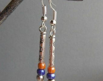 Pretty Silvertone Drop Summer Earrings with Tangerine and Blue Beads