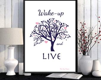 Motivational poster, Positive art quote print, Inspirational art, Life poster, Printable poster, Feel good art, Wall art decor, Home decor