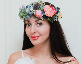 Romantic flower crown Boho floral crown Flower hair wreath Blue pink flower crown Flower headband Bridal halo Wedding hair wreath Peony halo