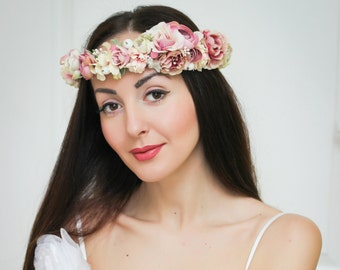 Bridal floral crown Flower headband Bridal headband Flower halo Wedding floral crown Girl flower crown Pink floral crown Rustic flower crown