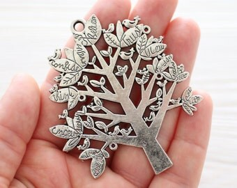 Silver plated tree pendant with writings and top loop, silver wish tree pendant