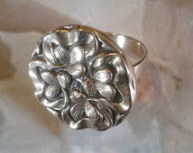 Romantic - Ring made Bronze hand - mixed tape and flowers--old-fashioned charm