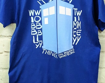 Tardis, Doctor Who t-shirt, Wibbly Wobbly Timey Wimey t-shirt, Minimalist Doctor Who, Dr. Who, simple Tardis, dtg print