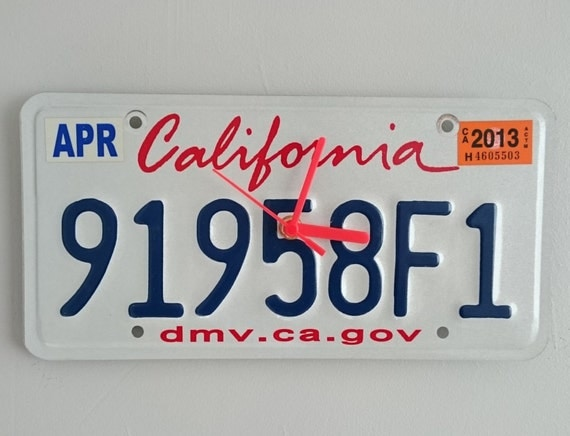 License Plate Clock - California 91958F1 - Number Plate Clock