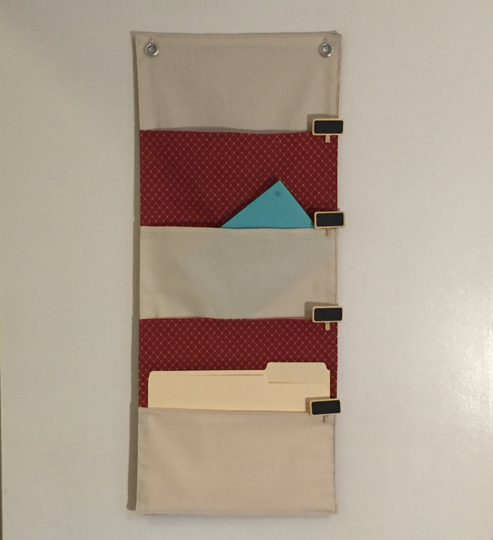 4 pocket hanging file folder organizer wall by quiltsncutes. Black Bedroom Furniture Sets. Home Design Ideas