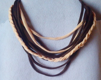 Fabric necklace with one braid