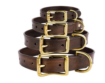 Leather Dog Collar with Brass Buckle