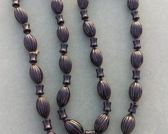Classic, Heirloom, Black Onyx Strand of Beads, Vintage beads, go from work to night out, small gold accent, Vintage beads, black onyx