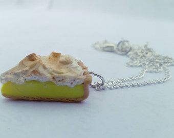 Lemon Meringue Necklace and Charm, Polymer Clay Food Jewelry