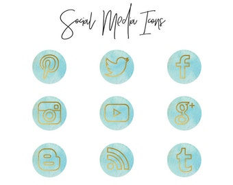 Social Media Icons, Blue and Gold, Blog Icons, Blog Design