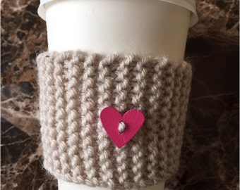 coffee cozy with heart button